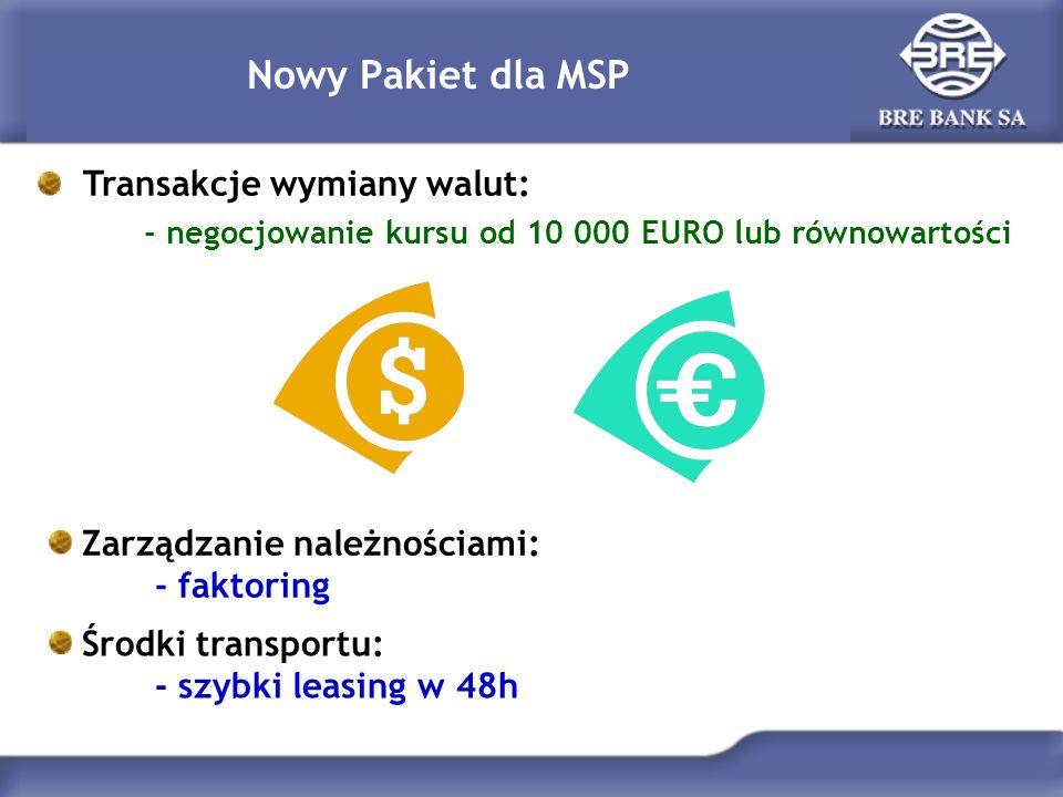 Nowy Pakiet dla MSP Transakcje wymiany walut: - negocjowanie kursu od 10 000 EURO lub równowartości Zarządzanie należnościami: - faktoring Środki tran