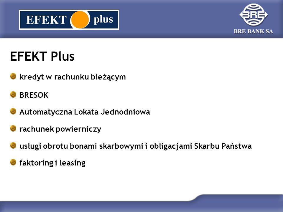 EFEKT Plus kredyt w rachunku bieżącym BRESOK Automatyczna Lokata Jednodniowa rachunek powierniczy usługi obrotu bonami skarbowymi i obligacjami Skarbu