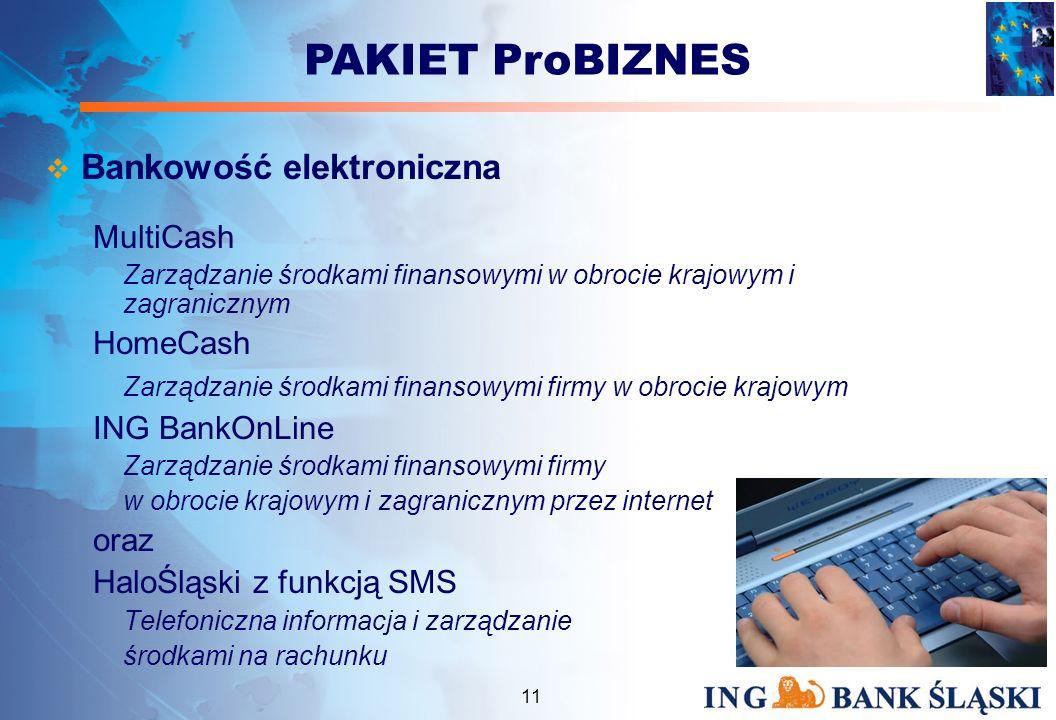 10 Finansowanie działalności Debet ProBIZNES Przeznaczony do finansowania bieżącej działalności (maksymalna kwota to 7- krotne średnie dzienne wpływy na rachunek bieżący) Kredyt w Rachunku ProBIZNES Przeznaczony do finansowania bieżącej działalności (maksymalna kwota to 15- krotne średnie dzienne wpływy na rachunek bieżący) Kredyt Inwestycyjny ProBIZNES Finansowanie fabrycznie nowych maszyn i urządzeń Kredyt ze środków EBOR oraz inne formy Kredyt Inwestycyjny w powiązaniu z Funduszem Dotacji Inwestycyjnych PHARE PAKIET ProBIZNES