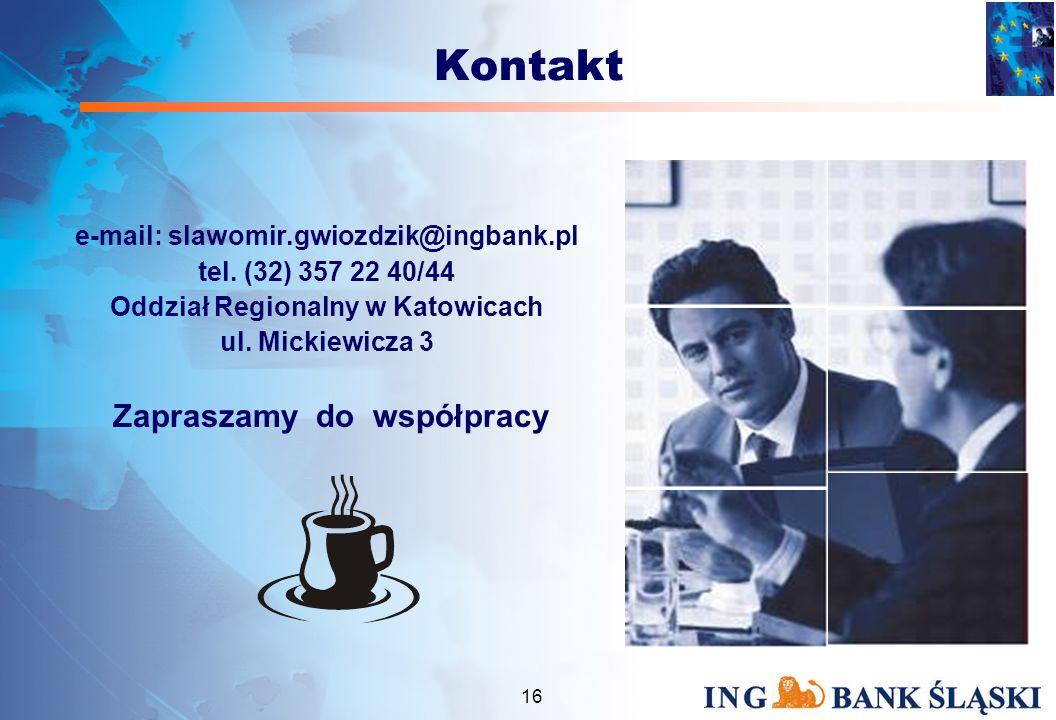 15 Podsumowanie Współpraca z nowoczesnym Bankiem, który jest wiarygodnym partnerem i doradcą w prowadzeniu działalności to niezbędny krok w realizacji celów biznesowych www.ing.pl