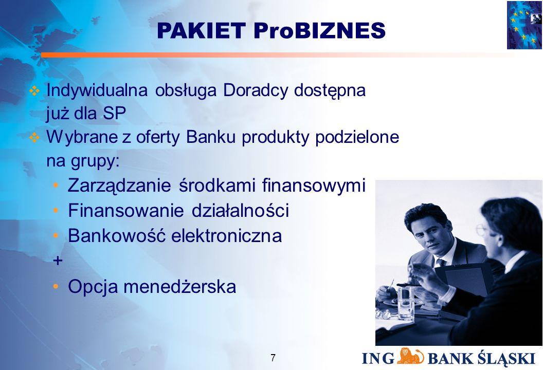 6 ADRESACI PAKIETU ProBIZNES samodzielni przedsiębiorcy prowadzący pełną księgowość o rocznych przychodach netto ze sprzedaży nie przekraczających 30 milionów złotych PAKIET ProBIZNES