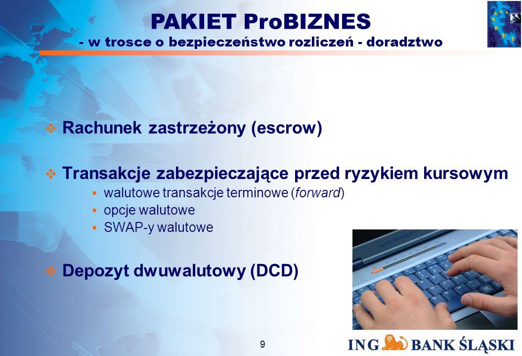 8 Zarządzanie środkami finansowymi Rachunek ProBIZNES służy do gromadzenia pieniędzy i szybkiego prowadzenia rozliczeń Rachunek bankowy w walutach wymienialnych Lokata e-call ProBIZNES nowoczesny rachunek oszczędnościowy służący do lokowania nadwyżek finansowych Karty bankowe Visa Business Charge, Maestro Business, Karty Przedpłacone Firmowe Delegacyjne Polecenie zapłaty usługa gwarantująca szybkie, skuteczne i terminowe ściąganie należności GOBI - (Gospodarcze Obciążenia Bezpośrednie) SIMP - (System Identyfikacji Masowych Płatności) PAKIET ProBIZNES