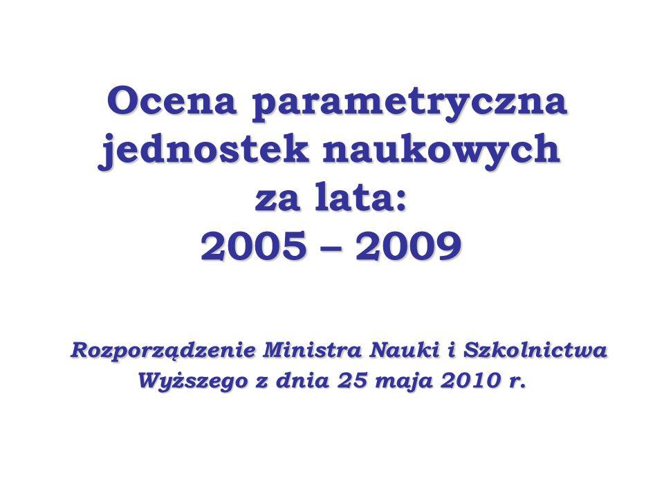 Ocena parametryczna jednostek naukowych za lata: 2005 – 2009 Rozporządzenie Ministra Nauki i Szkolnictwa Wyższego z dnia 25 maja 2010 r. Ocena paramet
