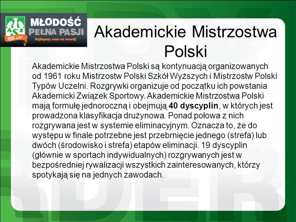 Akademickie Mistrzostwa Polski Akademickie Mistrzostwa Polski są kontynuacją organizowanych od 1961 roku Mistrzostw Polski Szkół Wyższych i Mistrzostw