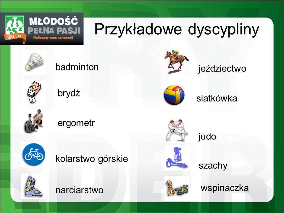 Przykładowe dyscypliny badminton brydż ergometr kolarstwo górskie narciarstwo jeździectwo siatkówka judo szachy wspinaczka