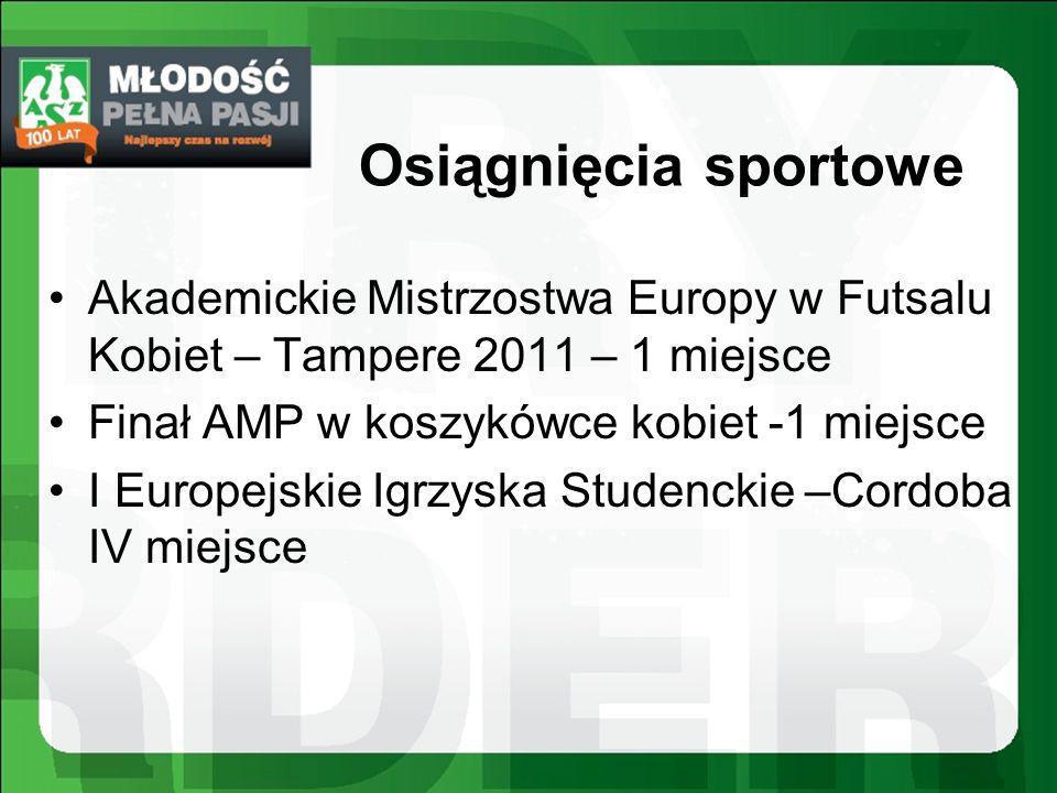 Osiągnięcia sportowe Akademickie Mistrzostwa Europy w Futsalu Kobiet – Tampere 2011 – 1 miejsce Finał AMP w koszykówce kobiet -1 miejsce I Europejskie