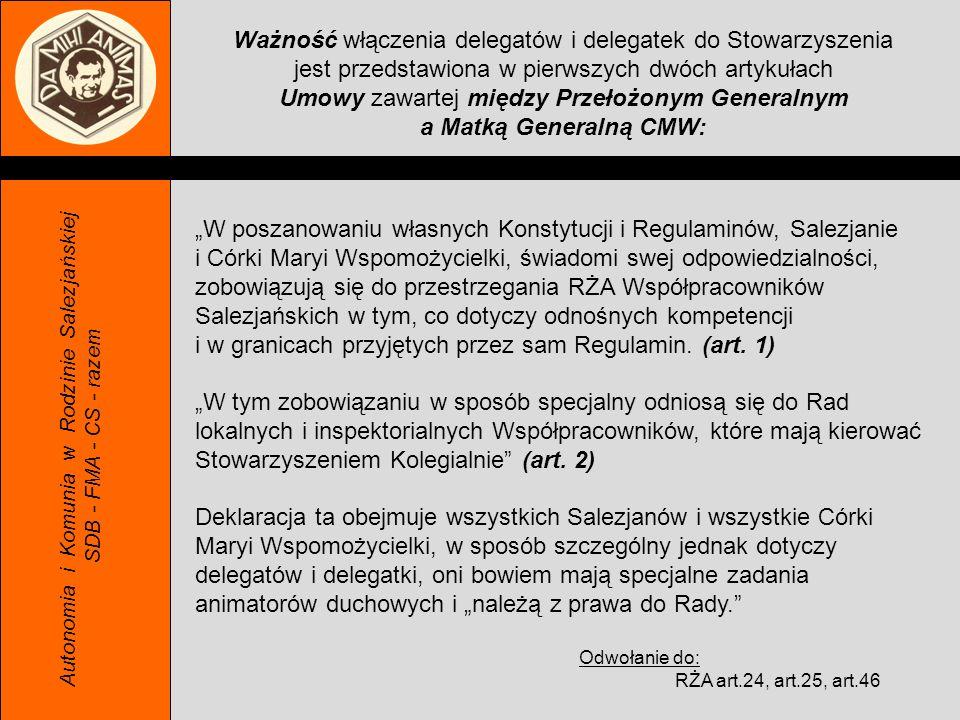 Autonomia i Komunia w Rodzinie Salezjańskiej SDB - FMA - CS - razem Ważność włączenia delegatów i delegatek do Stowarzyszenia jest przedstawiona w pie