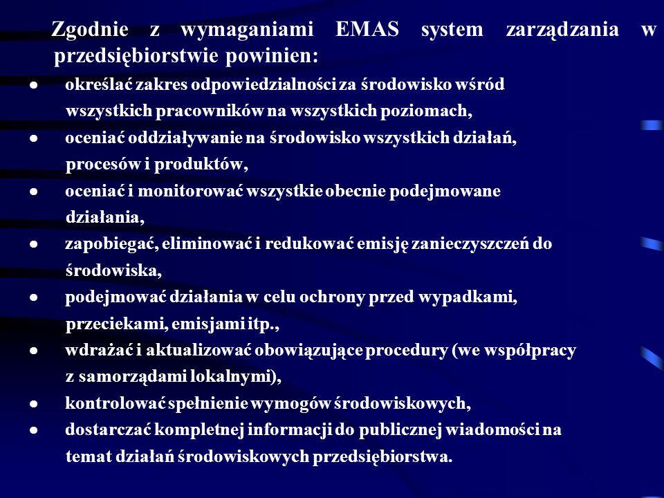 Zgodnie z wymaganiami EMAS system zarządzania w przedsiębiorstwie powinien: określać zakres odpowiedzialności za środowisko wśród wszystkich pracowników na wszystkich poziomach, oceniać oddziaływanie na środowisko wszystkich działań, procesów i produktów, oceniać i monitorować wszystkie obecnie podejmowane działania, zapobiegać, eliminować i redukować emisję zanieczyszczeń do środowiska, podejmować działania w celu ochrony przed wypadkami, przeciekami, emisjami itp., wdrażać i aktualizować obowiązujące procedury (we współpracy z samorządami lokalnymi), kontrolować spełnienie wymogów środowiskowych, dostarczać kompletnej informacji do publicznej wiadomości na temat działań środowiskowych przedsiębiorstwa.