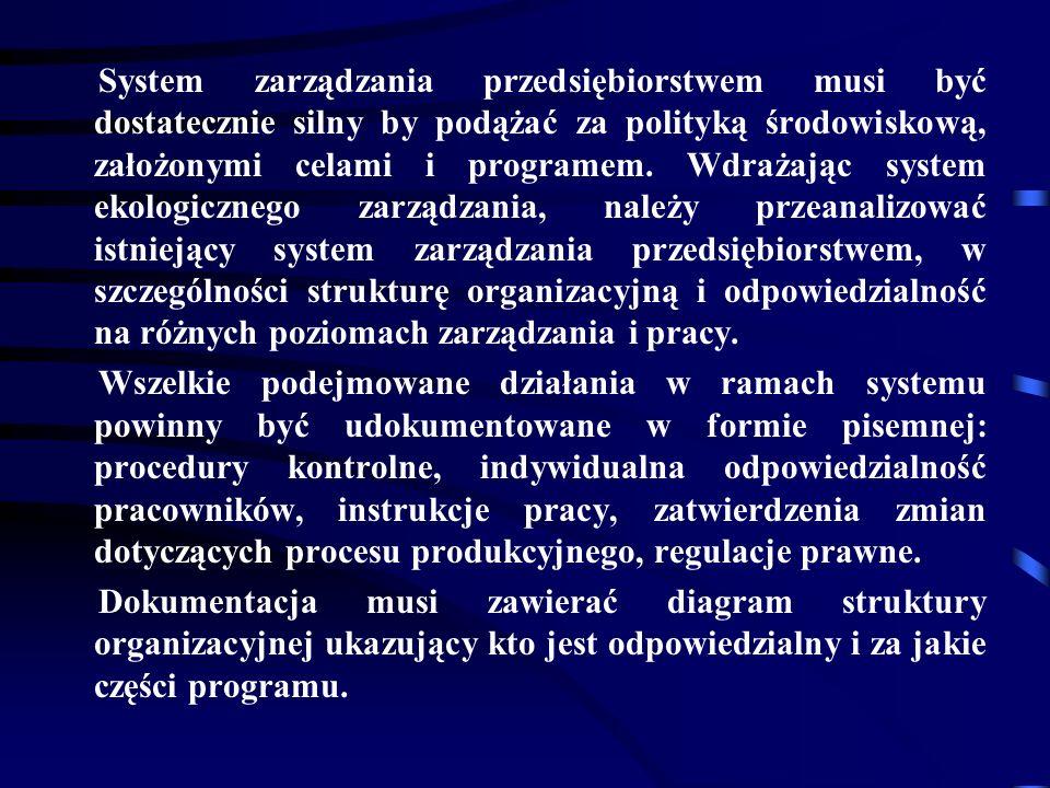System zarządzania przedsiębiorstwem musi być dostatecznie silny by podążać za polityką środowiskową, założonymi celami i programem.