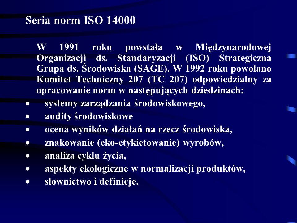 Seria norm ISO 14000 W 1991 roku powstała w Międzynarodowej Organizacji ds.