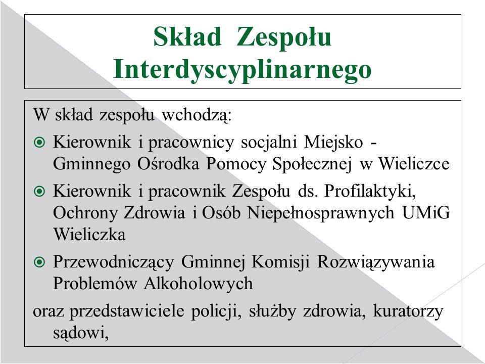 Skład Zespołu Interdyscyplinarnego W skład zespołu wchodzą: Kierownik i pracownicy socjalni Miejsko - Gminnego Ośrodka Pomocy Społecznej w Wieliczce K