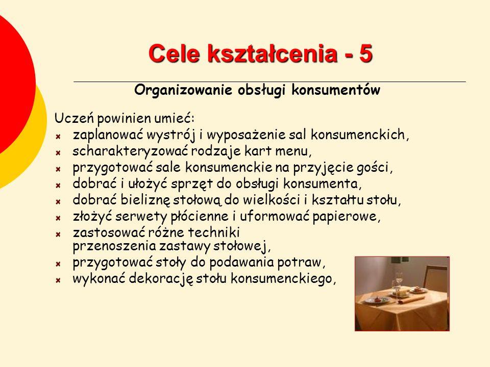 Cele kształcenia - 5 Organizowanie obsługi konsumentów Uczeń powinien umieć: zaplanować wystrój i wyposażenie sal konsumenckich, scharakteryzować rodz