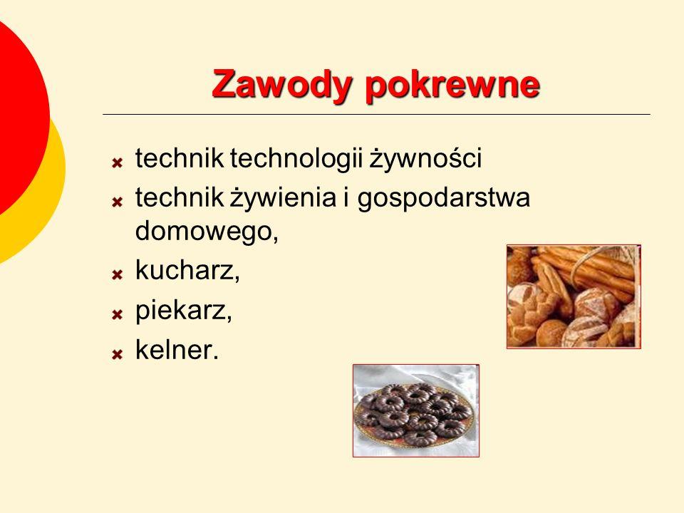 Zawody pokrewne technik technologii żywności technik żywienia i gospodarstwa domowego, kucharz, piekarz, kelner.