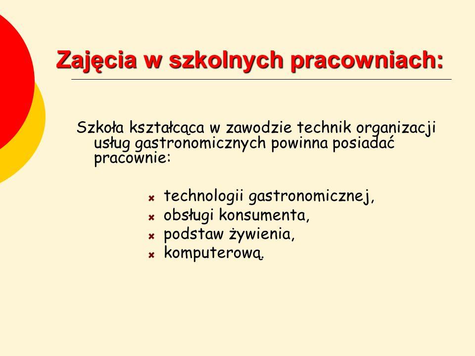 Zajęcia w szkolnych pracowniach: Szkoła kształcąca w zawodzie technik organizacji usług gastronomicznych powinna posiadać pracownie: technologii gastr