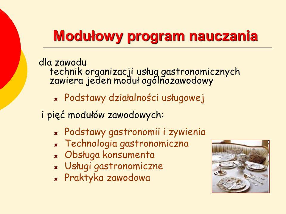 Modułowy program nauczania dla zawodu technik organizacji usług gastronomicznych zawiera jeden moduł ogólnozawodowy Podstawy działalności usługowej i