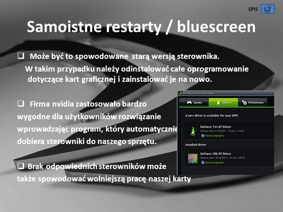 Samoistne restarty / bluescreen Może być to spowodowane starą wersją sterownika. W takim przypadku należy odinstalować całe oprogramowanie dotyczące k