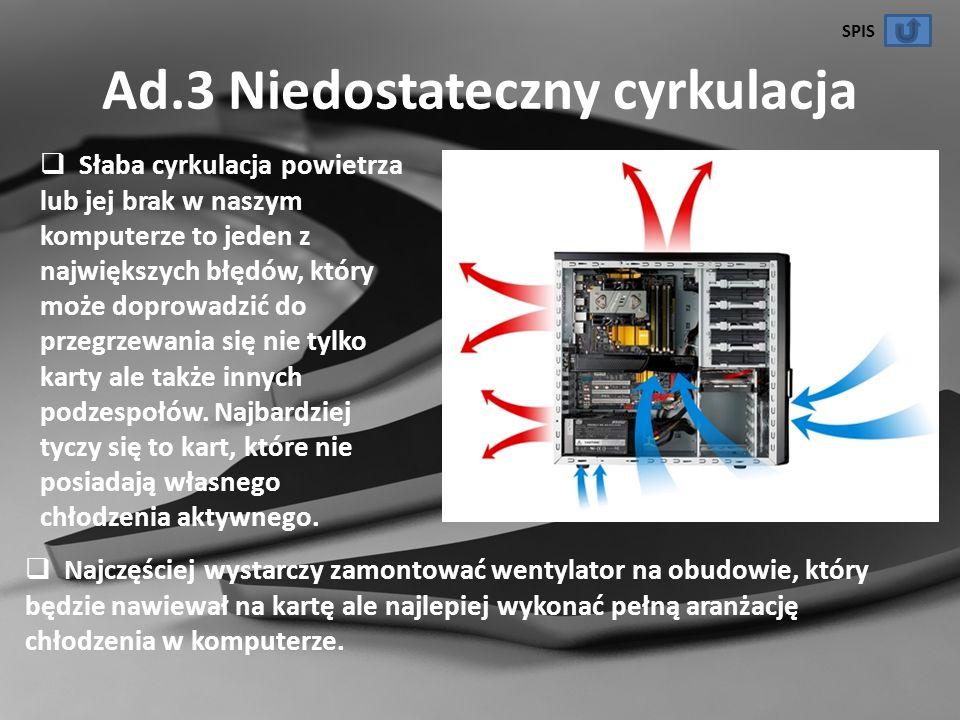 Ad.3 Niedostateczny cyrkulacja Słaba cyrkulacja powietrza lub jej brak w naszym komputerze to jeden z największych błędów, który może doprowadzić do p