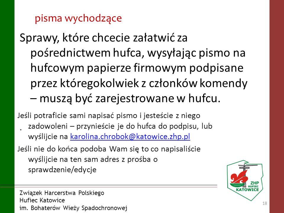 Związek Harcerstwa Polskiego Hufiec Katowice im. Bohaterów Wieży Spadochronowej pisma wychodzące Sprawy, które chcecie załatwić za pośrednictwem hufca
