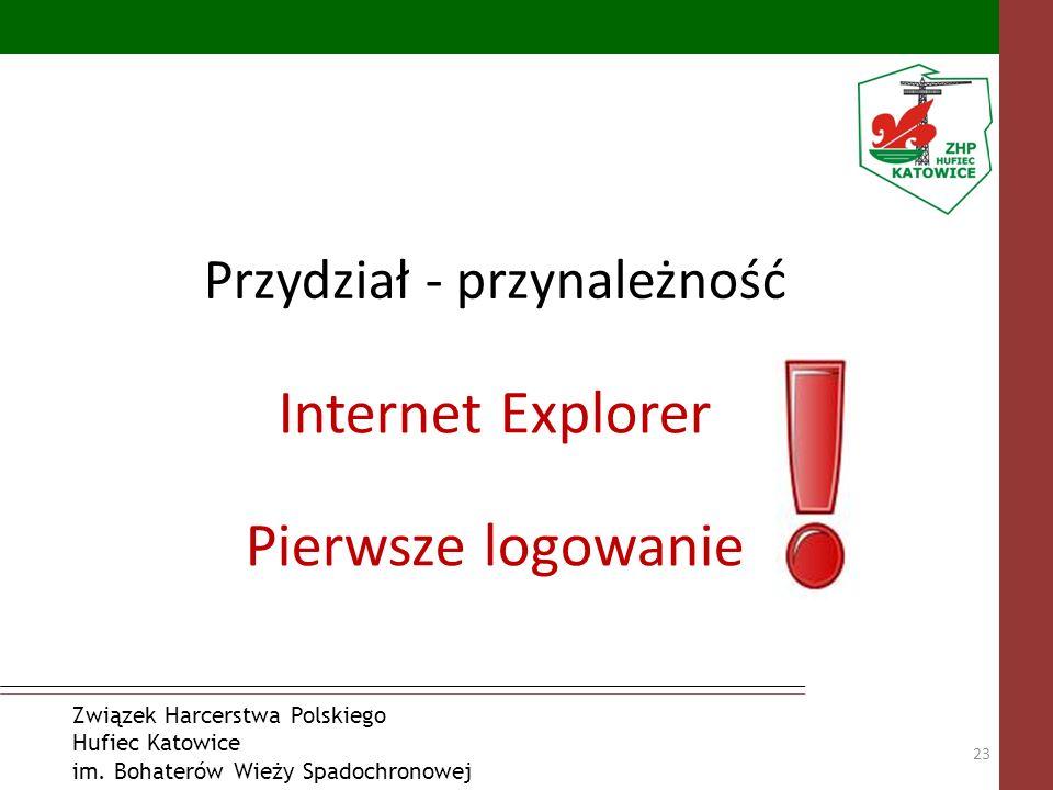 Związek Harcerstwa Polskiego Hufiec Katowice im. Bohaterów Wieży Spadochronowej Przydział - przynależność 23 Internet Explorer Pierwsze logowanie