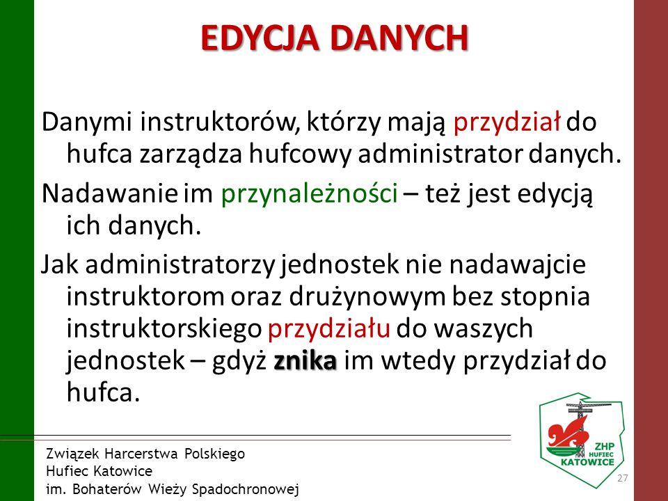 Związek Harcerstwa Polskiego Hufiec Katowice im. Bohaterów Wieży Spadochronowej EDYCJA DANYCH Danymi instruktorów, którzy mają przydział do hufca zarz