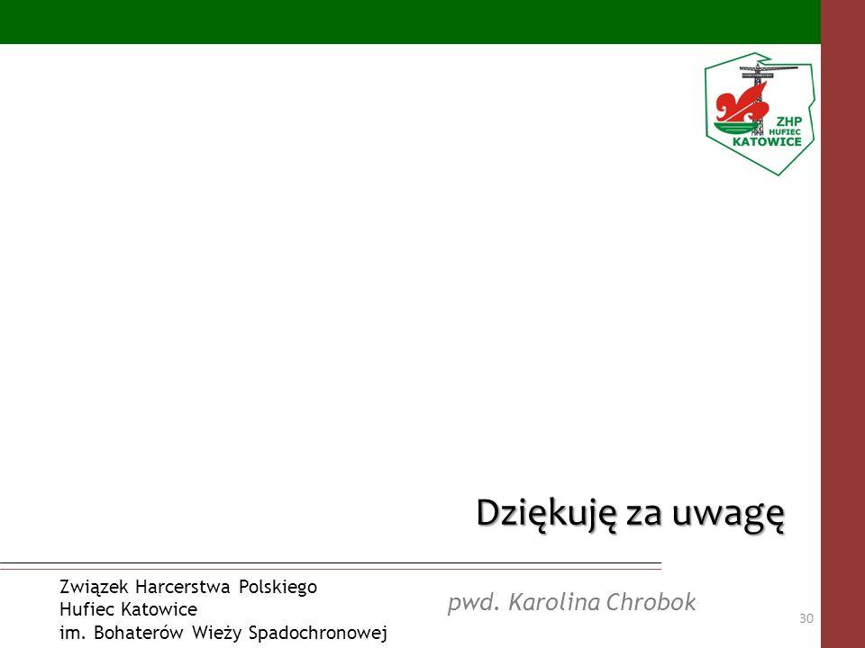 pwd. Karolina Chrobok Związek Harcerstwa Polskiego Hufiec Katowice im. Bohaterów Wieży Spadochronowej Dziękuję za uwagę 30