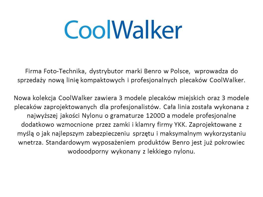 CoolWalker 100 Dwukomorowy miejski plecak pomieści lustrzankę, lampę, do 4 obiektywów oraz liczne akcesoria.