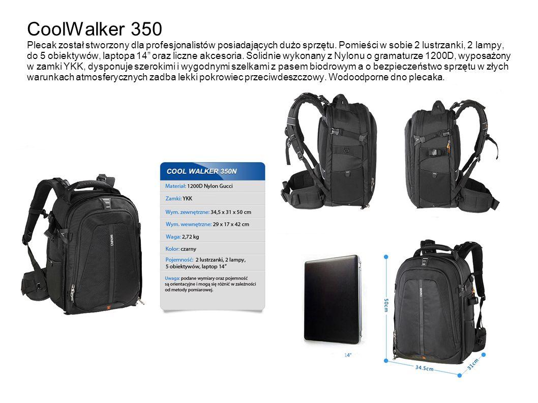 CoolWalker 350 Plecak został stworzony dla profesjonalistów posiadających dużo sprzętu. Pomieści w sobie 2 lustrzanki, 2 lampy, do 5 obiektywów, lapto