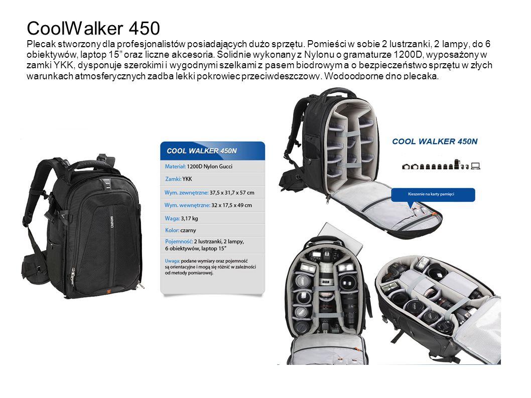 CoolWalker 450 Plecak stworzony dla profesjonalistów posiadających dużo sprzętu. Pomieści w sobie 2 lustrzanki, 2 lampy, do 6 obiektywów, laptop 15 or