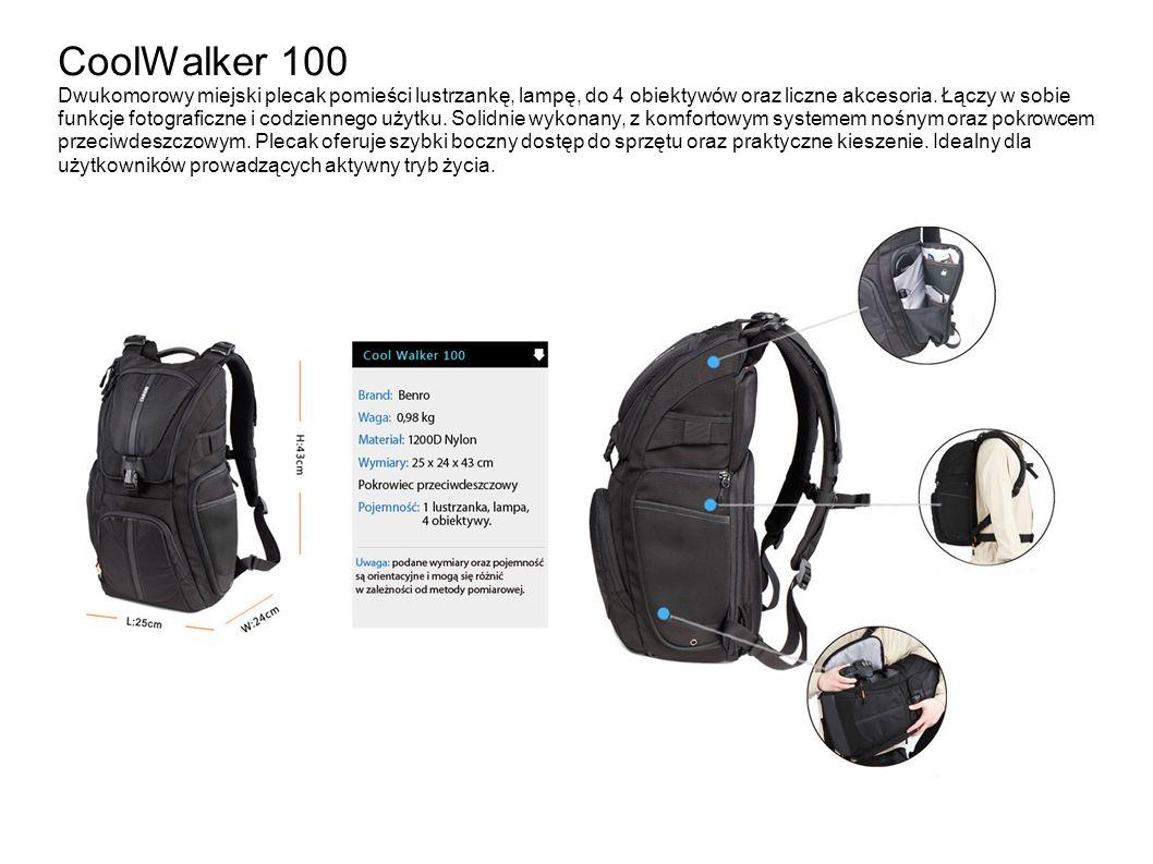 CoolWalker 100 Dwukomorowy miejski plecak pomieści lustrzankę, lampę, do 4 obiektywów oraz liczne akcesoria. Łączy w sobie funkcje fotograficzne i cod