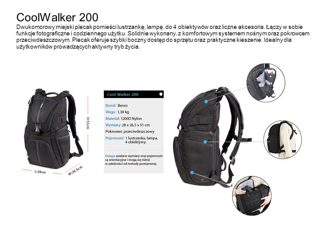 CoolWalker 200 Dwukomorowy miejski plecak pomieści lustrzankę, lampę, do 4 obiektywów oraz liczne akcesoria. Łączy w sobie funkcje fotograficzne i cod