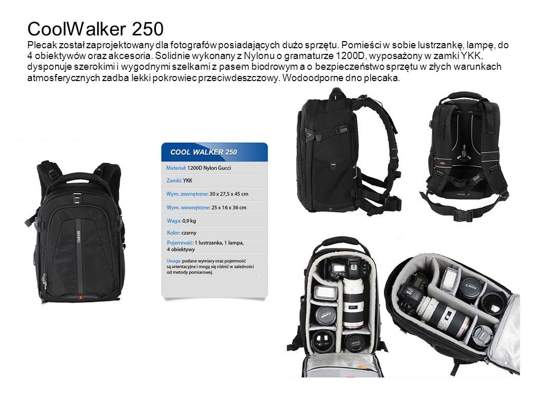 CoolWalker 250 Plecak został zaprojektowany dla fotografów posiadających dużo sprzętu. Pomieści w sobie lustrzankę, lampę, do 4 obiektywów oraz akceso