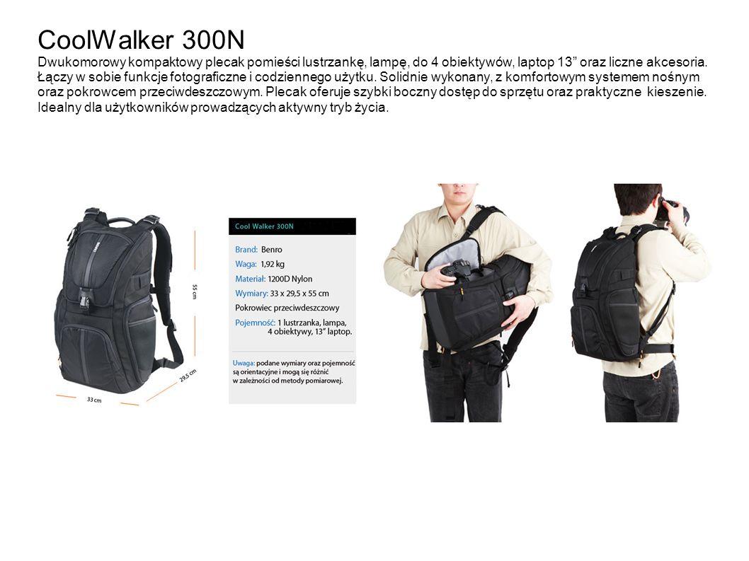 CoolWalker 300N Dwukomorowy kompaktowy plecak pomieści lustrzankę, lampę, do 4 obiektywów, laptop 13 oraz liczne akcesoria. Łączy w sobie funkcje foto