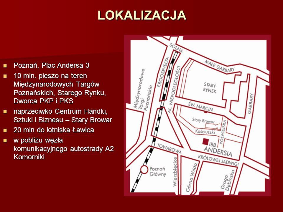 LOKALIZACJA Poznań, Plac Andersa 3 Poznań, Plac Andersa 3 10 min. pieszo na teren Międzynarodowych Targów Poznańskich, Starego Rynku, Dworca PKP i PKS