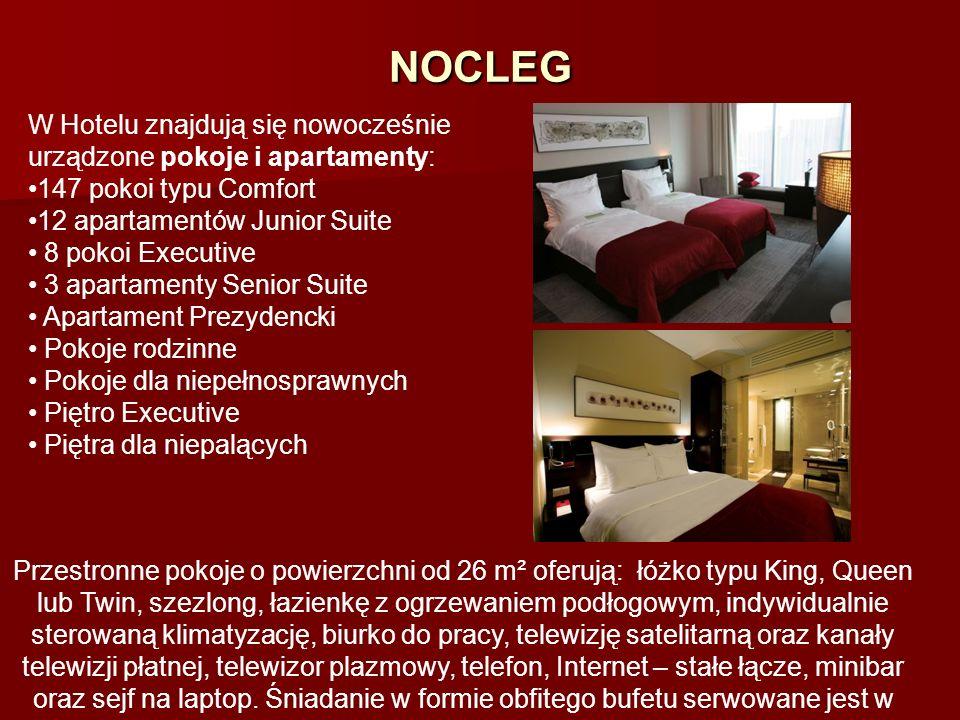 NOCLEG W Hotelu znajdują się nowocześnie urządzone pokoje i apartamenty: 147 pokoi typu Comfort 12 apartamentów Junior Suite 8 pokoi Executive 3 apart
