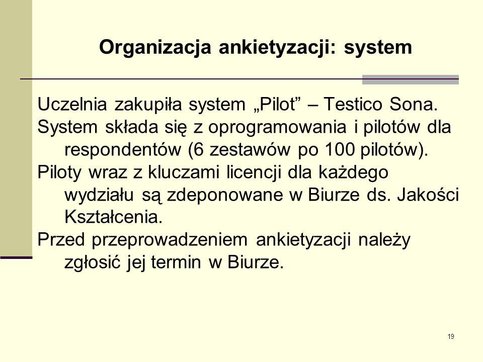 Organizacja ankietyzacji: system Uczelnia zakupiła system Pilot – Testico Sona. System składa się z oprogramowania i pilotów dla respondentów (6 zesta