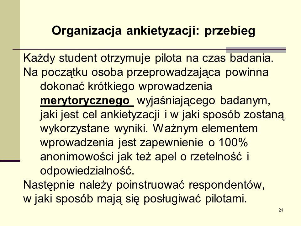 Organizacja ankietyzacji: przebieg Każdy student otrzymuje pilota na czas badania. Na początku osoba przeprowadzająca powinna dokonać krótkiego wprowa