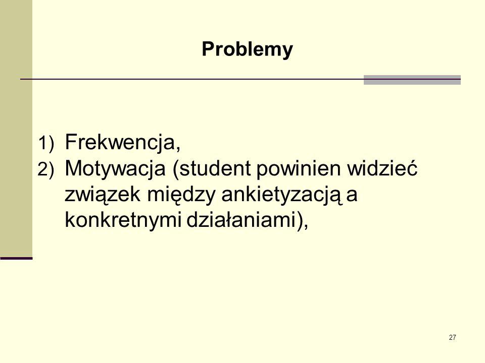 Problemy 1) Frekwencja, 2) Motywacja (student powinien widzieć związek między ankietyzacją a konkretnymi działaniami), 27