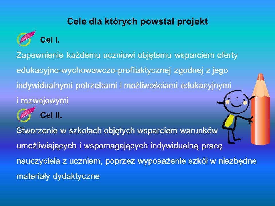 Zajęcia zrealizowane w ramach projektu Zajęcia dla dzieci ze specyficznymi trudnościami w czytaniu i pisaniu -Szkoła Podstawowa w Jarosławcu- zrealizowano 120 godzin zajęć, -Szkoła Podstawowa w Pieszczu- zrealizowano 60 godzin zajęć, -Szkoła Podstawowa w Postominie- zrealizowano 150 godzin zajęć, -Szkoła Podstawowa w Staniewicach- zrealizowano 60 godzin zajęć; Zajęcia dla dzieci z trudnościami w zdobywaniu umiejętności matematycznych -Szkoła Podstawowa w Pieszczu- zrealizowano 48 godzin zajęć, -Szkoła Podstawowa w Postominie- zrealizowano 90 godzin zajęć, -Szkoła Podstawowa w Staniewicach- zrealizowano 60 godzin zajęć; Zajęcia logopedyczne dla dzieci z zaburzeniami rozwoju mowy -Szkoła Podstawowa w Jarosławcu- zrealizowano 120 godzin zajęć, -Szkoła Podstawowa w Pieszczu- zrealizowano 120 godzin zajęć, -Szkoła Podstawowa w Postominie- zrealizowano 240 godzin zajęć, -Szkoła Podstawowa w Staniewicach- zrealizowano 60 godzin zajęć;