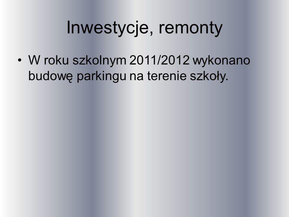 Inwestycje, remonty W roku szkolnym 2011/2012 wykonano budowę parkingu na terenie szkoły.