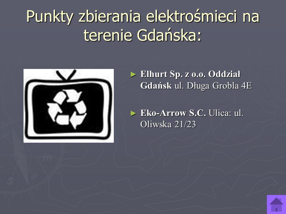 Punkty zbierania elektrośmieci na terenie Gdańska: Elhurt Sp. z o.o. Oddział Gdańsk ul. Długa Grobla 4E Elhurt Sp. z o.o. Oddział Gdańsk ul. Długa Gro