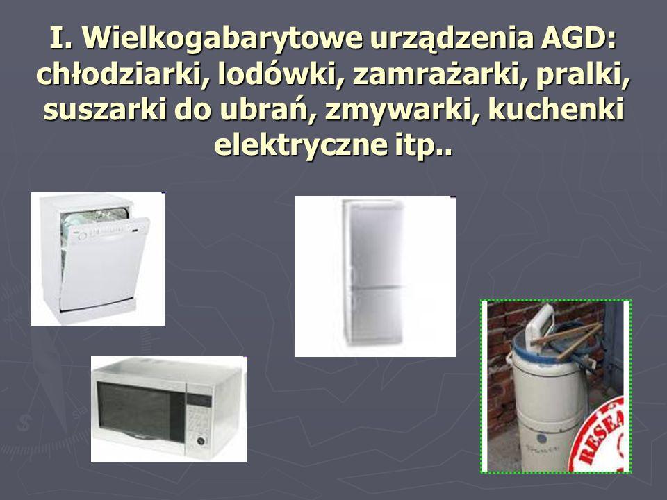 I. Wielkogabarytowe urządzenia AGD: chłodziarki, lodówki, zamrażarki, pralki, suszarki do ubrań, zmywarki, kuchenki elektryczne itp..