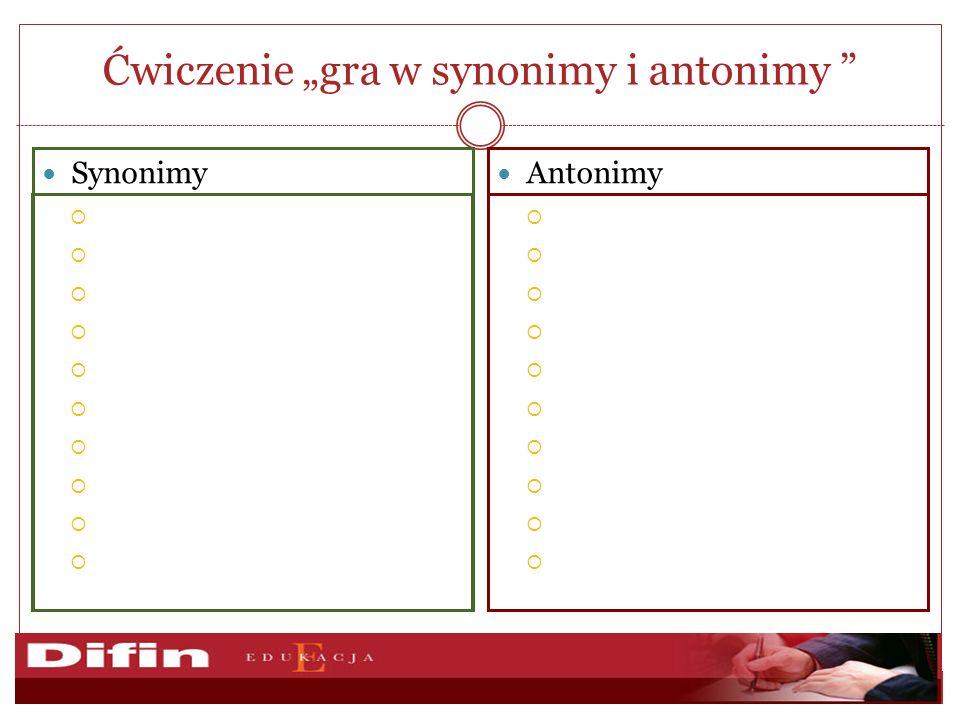Ćwiczenie gra w synonimy i antonimy Antonimy Synonimy