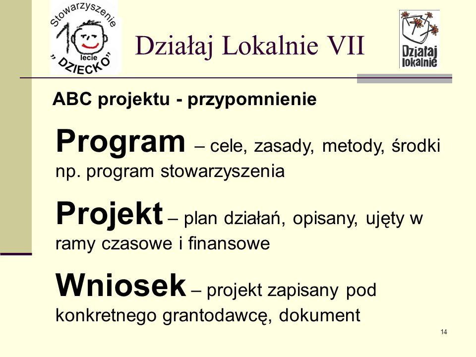 ABC projektu - przypomnienie Działaj Lokalnie VII Program – cele, zasady, metody, środki np.