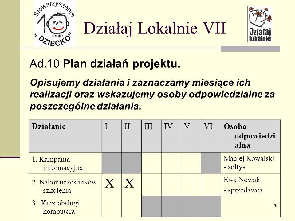 Działaj Lokalnie VII Ad.10 Plan działań projektu.