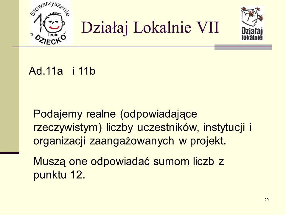 Działaj Lokalnie VII Ad.11a i 11b Podajemy realne (odpowiadające rzeczywistym) liczby uczestników, instytucji i organizacji zaangażowanych w projekt.