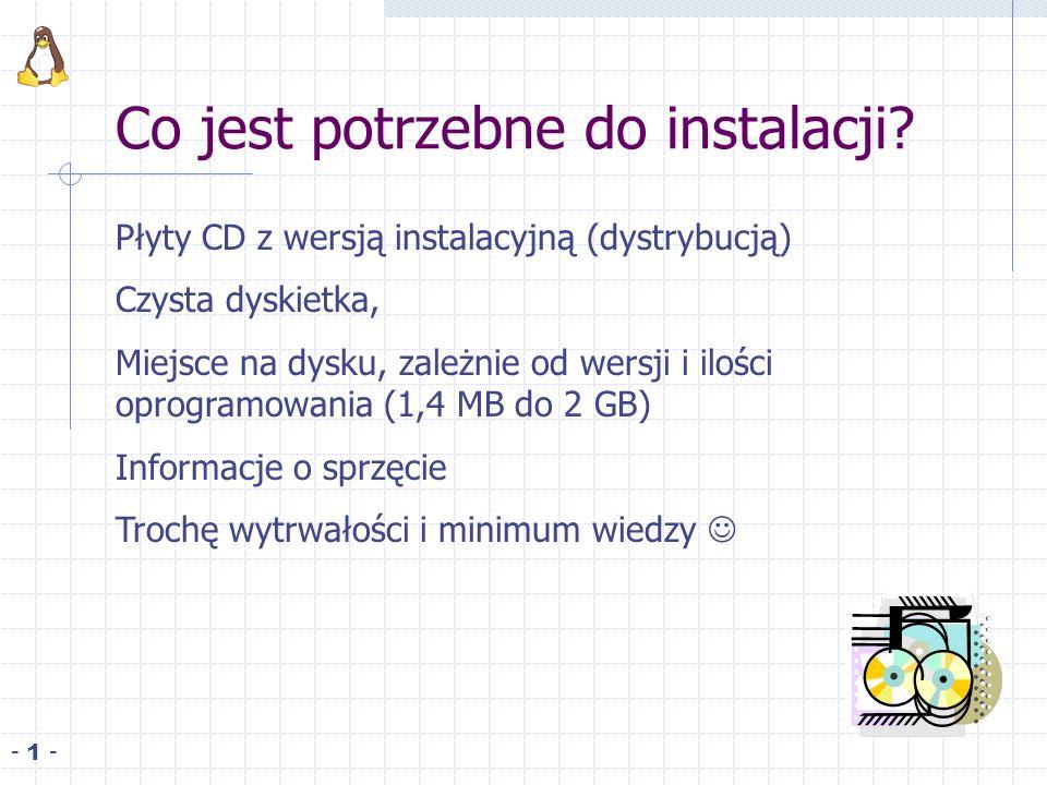 Co jest potrzebne do instalacji? Płyty CD z wersją instalacyjną (dystrybucją) Czysta dyskietka, Miejsce na dysku, zależnie od wersji i ilości oprogram