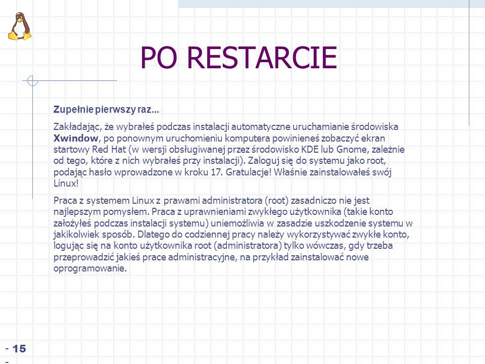 PO RESTARCIE - 15 - Zupełnie pierwszy raz...