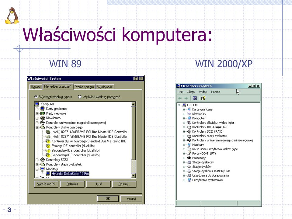 Właściwości komputera: - 3 - WIN 89WIN 2000/XP