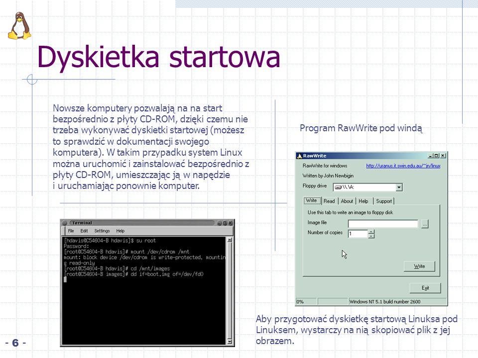 Dyskietka startowa - 6 - Nowsze komputery pozwalają na na start bezpośrednio z płyty CD ROM, dzięki czemu nie trzeba wykonywać dyskietki startowej (możesz to sprawdzić w dokumentacji swojego komputera).