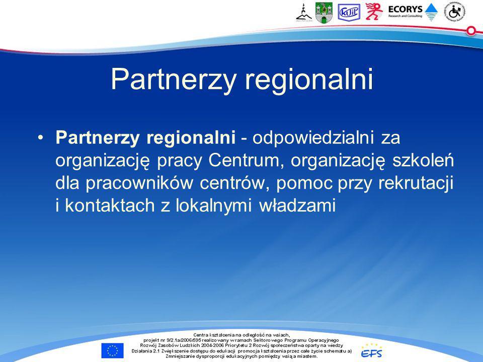 Partnerzy regionalni Partnerzy regionalni - odpowiedzialni za organizację pracy Centrum, organizację szkoleń dla pracowników centrów, pomoc przy rekrutacji i kontaktach z lokalnymi władzami